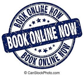book online now blue grunge round vintage rubber stamp