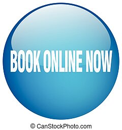 book online now blue round gel isolated push button
