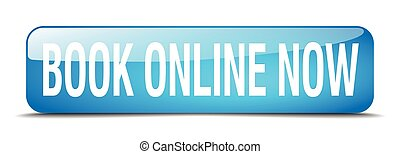 book online now blue square 3d realistic isolated web button
