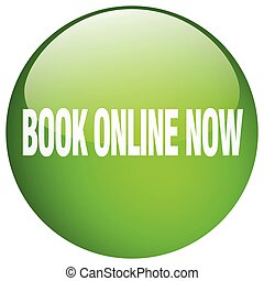 book online now green round gel isolated push button