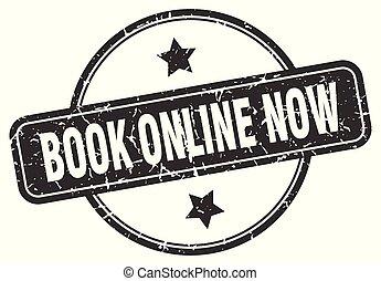 book online now grunge stamp