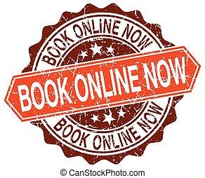 book online now orange round grunge stamp on white