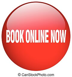 book online now red round gel isolated push button