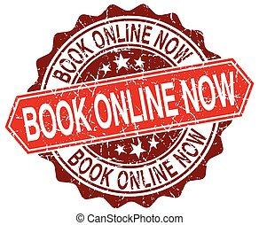 book online now red round grunge stamp on white