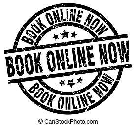 book online now round grunge black stamp