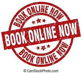 book online now round red grunge stamp