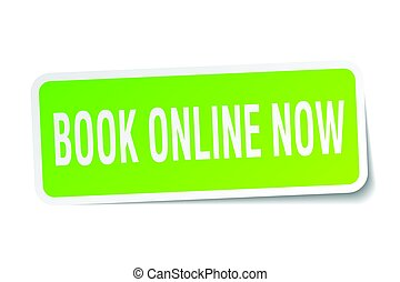 book online now square sticker on white