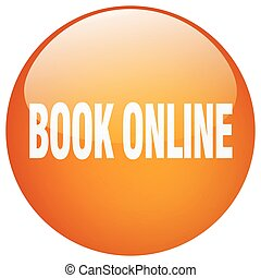 book online orange round gel isolated push button