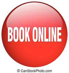 book online red round gel isolated push button