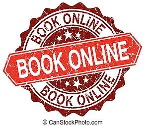 book online red round grunge stamp on white