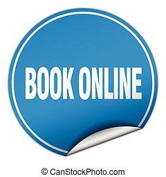 book online round blue sticker isolated on white