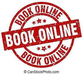 book online round red grunge stamp