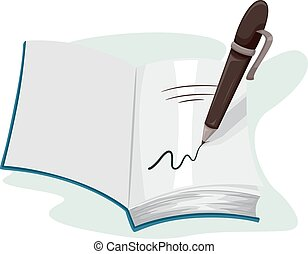 Illustration of a Pen Writing on the Page of an Open Book