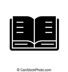 book open icon, vector illustration, black sign on isolated background