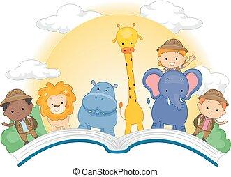 Book Open Kids Cute Animals Safari