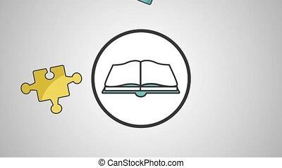 Book open over puzzle pieces HD definition