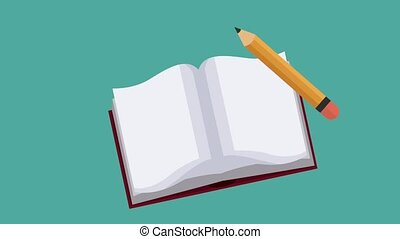 Book open with pencil HD animation