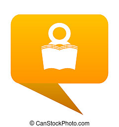 book orange bulb web icon isolated.
