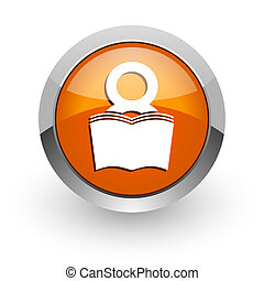 book orange glossy web icon