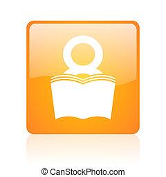 book orange square glossy web icon