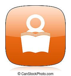 book orange square web design glossy icon