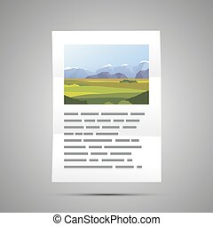 Book page with landscape illustration and text, A4 size document icon with shadow on gray