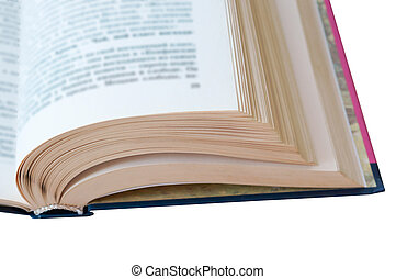 book pages, book in turn, white sheets of books with black letters