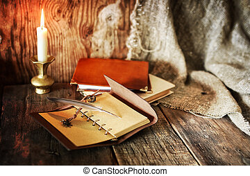 book pen candle romance
