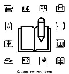 Book, pen flat vector icon in books pack