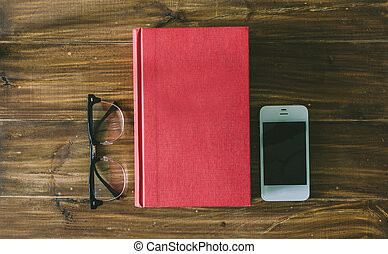 Book, Phone And Glasses