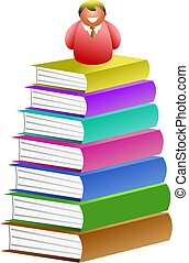 book pile - icon man sitting ontop of a pile of books