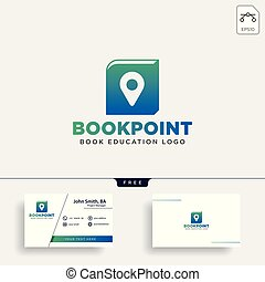 book pin marker or navigation map simple line logo template vector illustration icon element