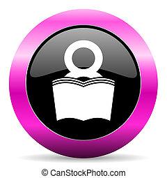book pink glossy icon - web glossy pushbutton