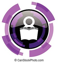 Book pink violet modern design vector web and smartphone icon. Round button in eps 10 isolated on white background.