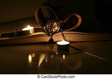 book pocket watch candles