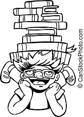 Book Reader Kid line art