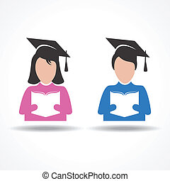 Book reading concept with graduate students stock vector