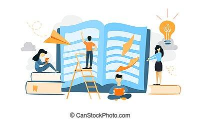 Book reading illustration.