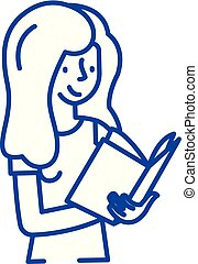 Book reading line icon concept. Book reading flat vector symbol, sign, outline illustration.