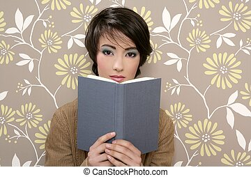 book reading shy woman retro 60s vintage