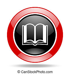 book red and black web glossy round icon