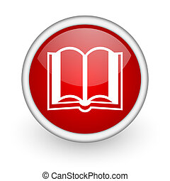 book red circle web icon on white background