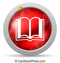 book red glossy christmas icon on white background