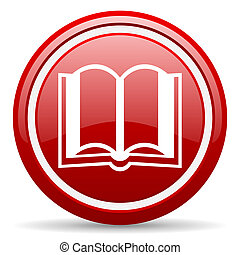 book red glossy icon on white background