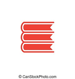 Book Red Icon On White Background. Red Flat Style Vector Illustration.
