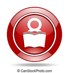 book red web glossy round icon