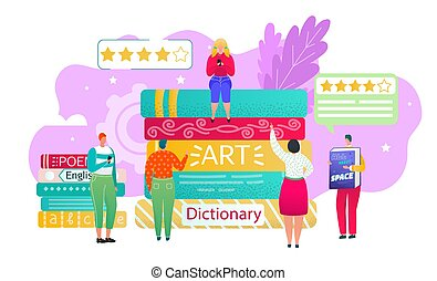 Book review, reading club concept, vector illustration. ...