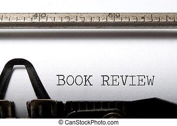 Book review printed on a vintage typewriter