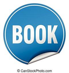 book round blue sticker isolated on white