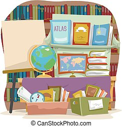 Book Sale Board Geography Illustration